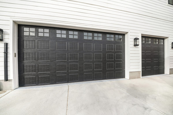 A modern black garage door in Chicago